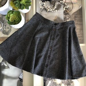 Woolen Gray High Waisted Skirt